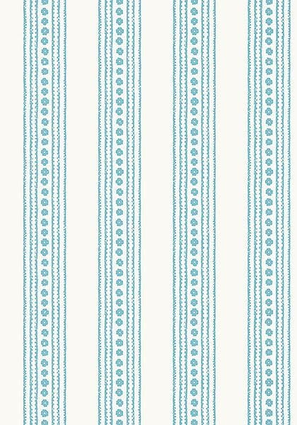 Thibaut New Haven Stripe Wallpaper in Turquoise